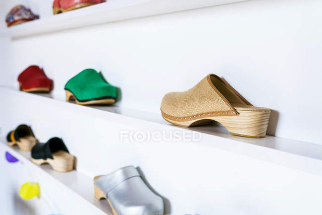 Assortment of colorful clogs — Stock Photo