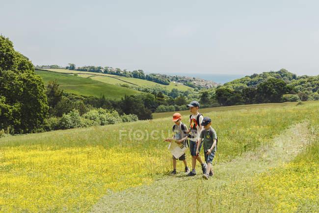 Three boys walking in meadow — Stock Photo