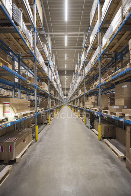High rack warehouse in factory — Stock Photo