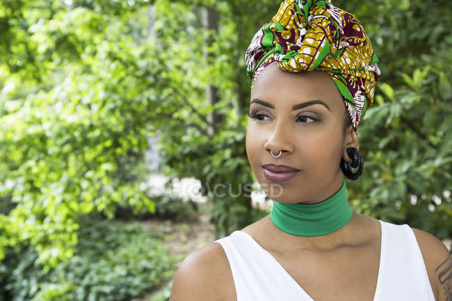 Portrait of young woman with piercings — Stock Photo