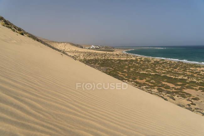 Испания, Канарские острова, Фуэртевентура, Jandia природный парк, пляж и дюны пляжа Плайя-де-Сотавенто — стоковое фото