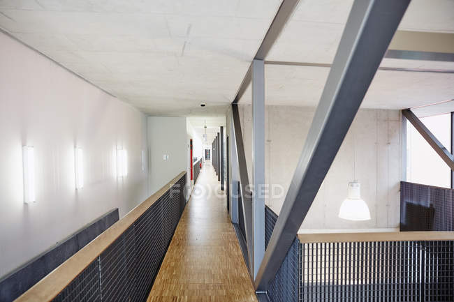 Interior of Empty upper floor corridor in office — Stock Photo
