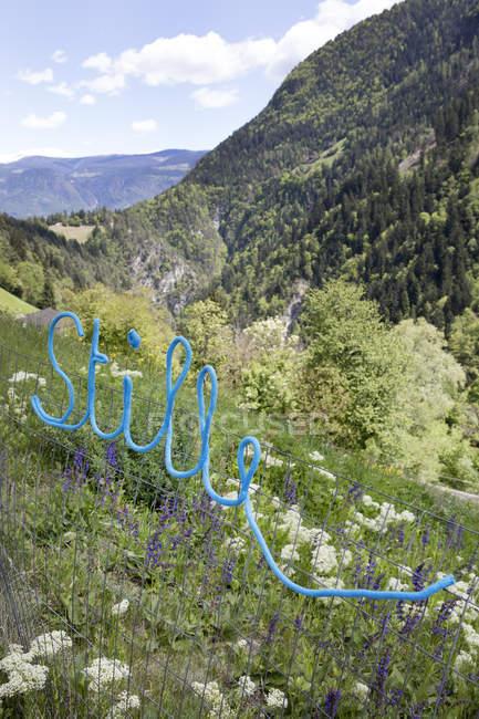 Слово Stille в альпійський пейзаж — стокове фото