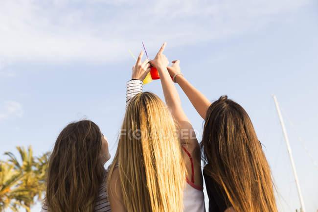 Три молодые женщины произносят тосты — стоковое фото