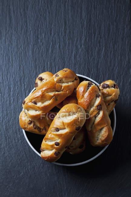 Plate of chocolate buns — Stock Photo