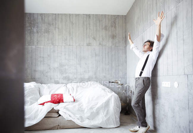 Architect throwing hands up — Stock Photo