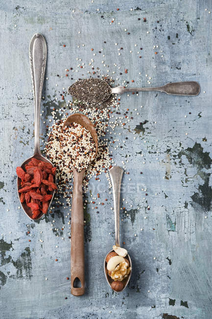 Spoons with various spices — Stock Photo
