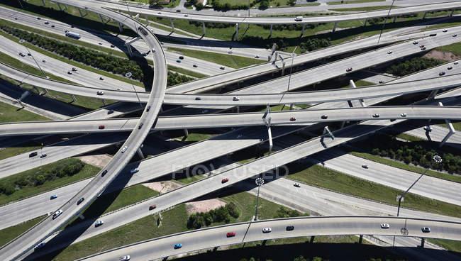 Vista aérea de intercambio de la autopista - foto de stock