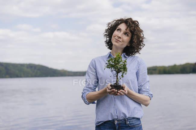 Жінка тримає маленька дерево — стокове фото