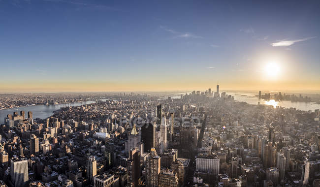 New York City at sunrise — Stock Photo