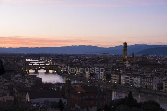 Palazzo vecchio al atardecer, Florencia - foto de stock