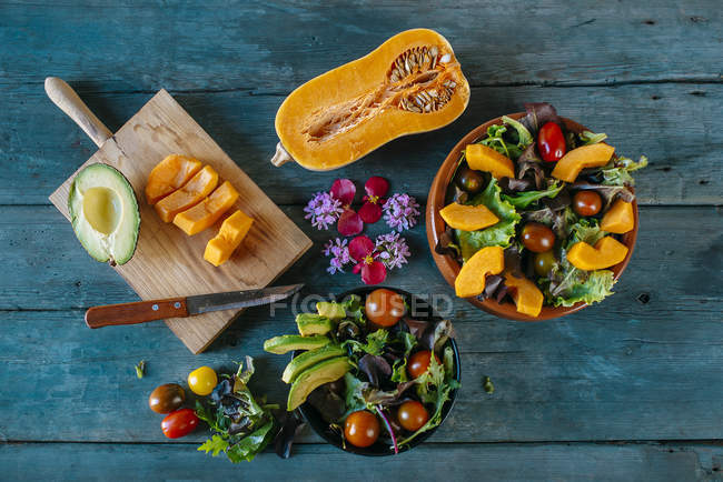 Bowls of various mixed salads — Stock Photo