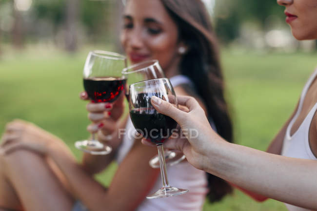 Friends clinking red wine glasses — Stock Photo