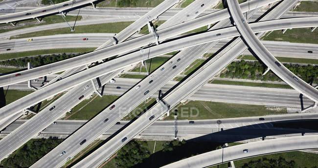 Vue aérienne de l'échangeur routier — Photo de stock