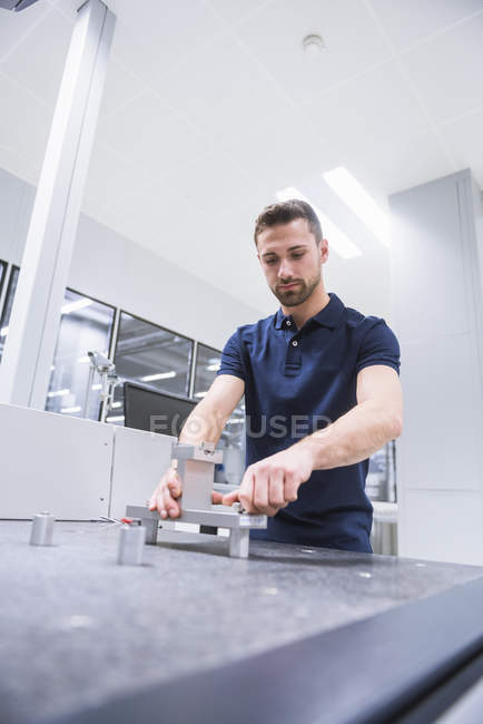 Man in testing instrument room — Stock Photo