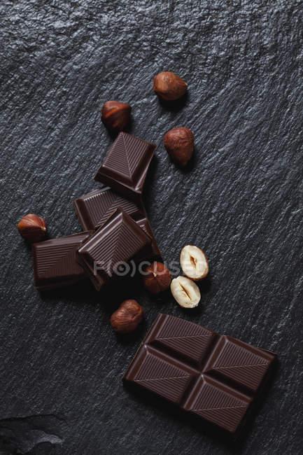 Halbbittere Schokolade und Haselnüssen — Stockfoto