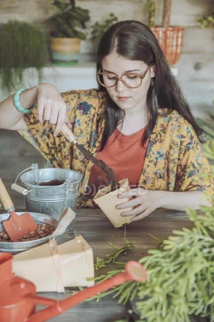 Женщина готовится к посадке кактусов — стоковое фото