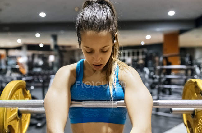 Exhausted young woman after work out — Stock Photo