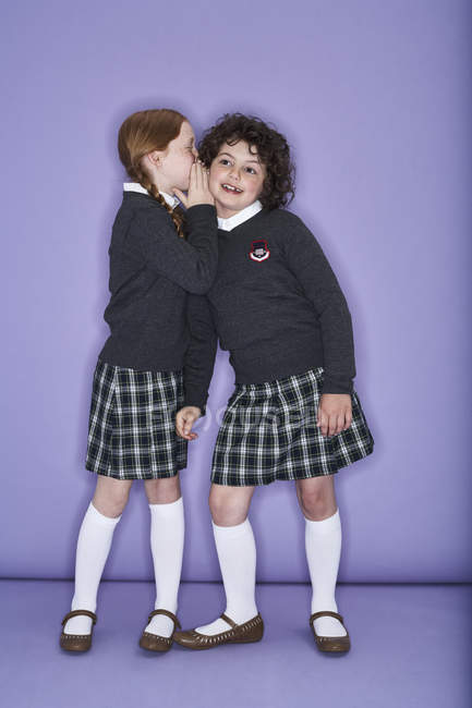Girls wearing school uniform — Stock Photo