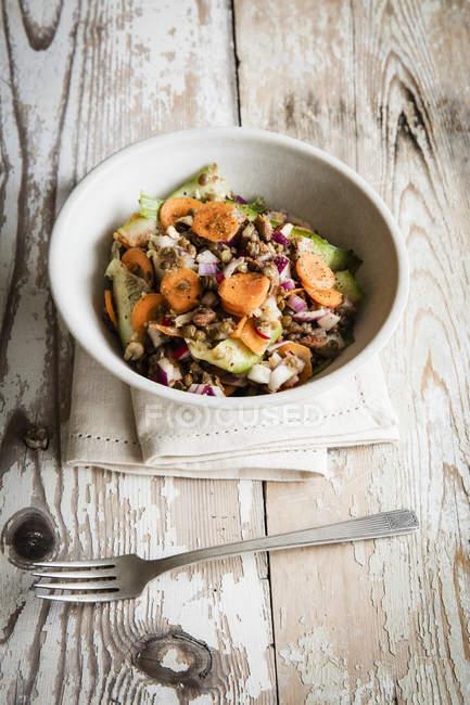 Insalata di lenticchie con la carota — Foto stock