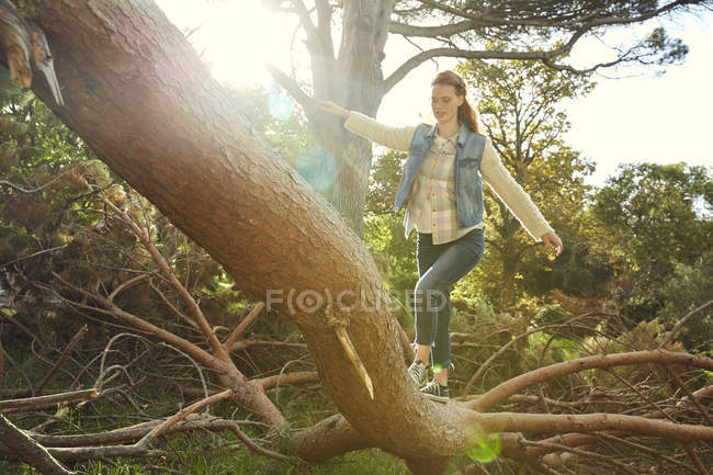 Young woman balancing on tree trunk — Stock Photo