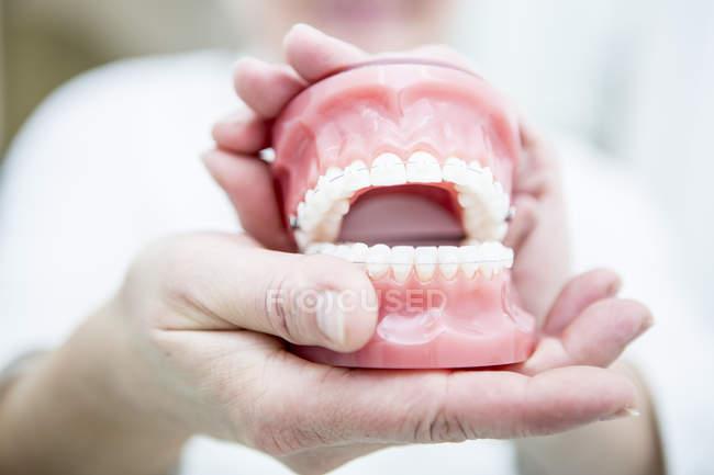 Mani che tengono la dentiera — Foto stock