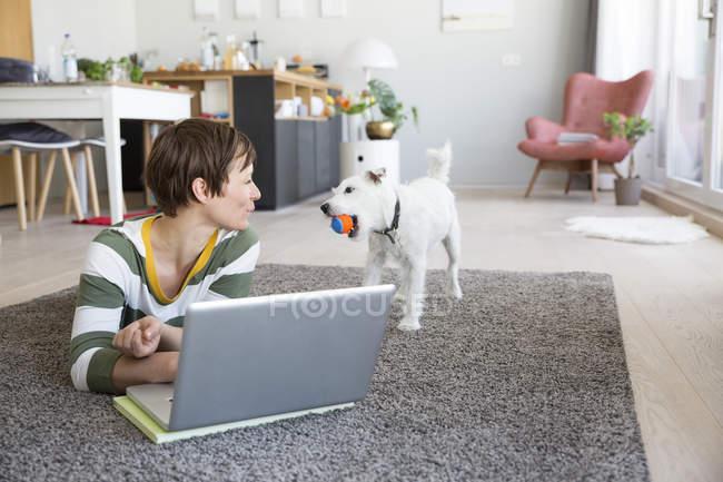 Frau am Boden beobachtet Hund — Stockfoto