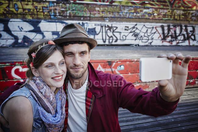 Germany, Hamburg, St. Pauli, Couple taking selfie — Stock Photo