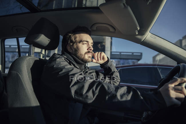 Man driving a car — Stock Photo