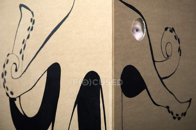Girl peeking out of cardboard box — Stock Photo