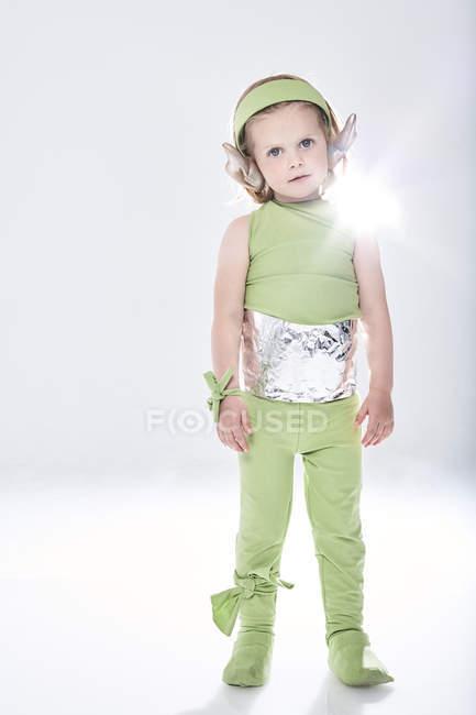 Girl dressed up as alien — Stock Photo
