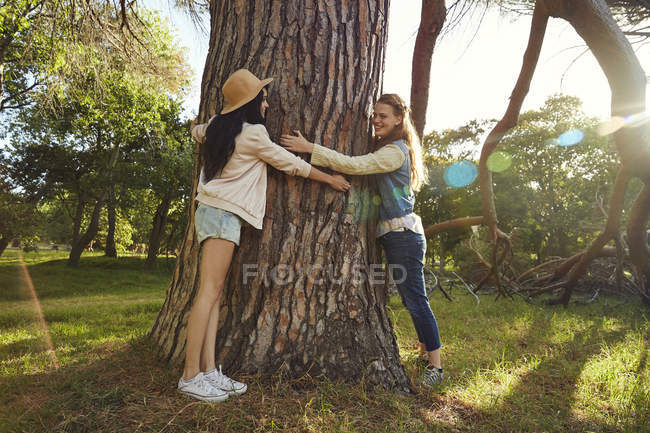 Best friends hugging tree — Stock Photo