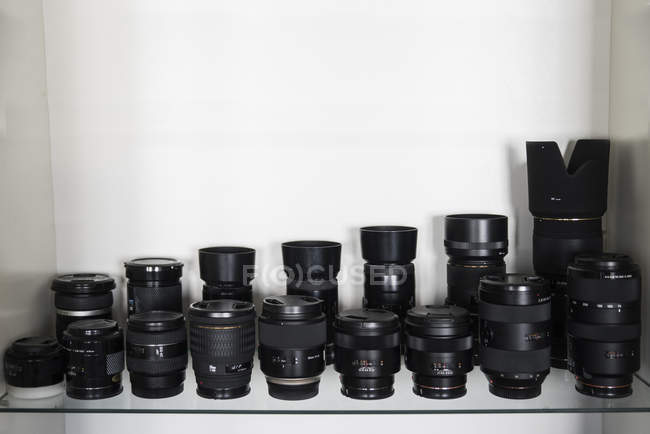 Collection of lenses for reflex cameras — Stock Photo