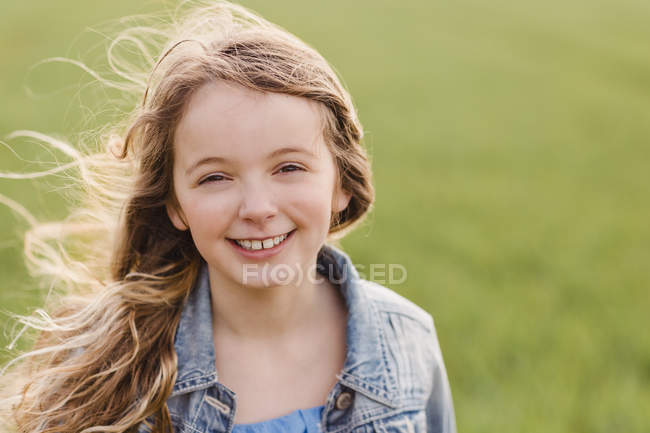 Girl with blowing hair — Stock Photo
