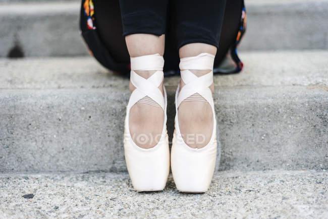 Pés de bailarina de ballet — Fotografia de Stock
