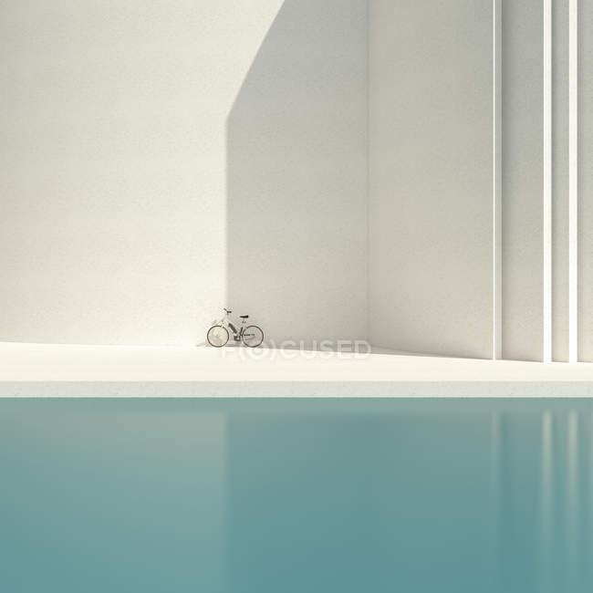 Vélo devant le mur de béton — Photo de stock