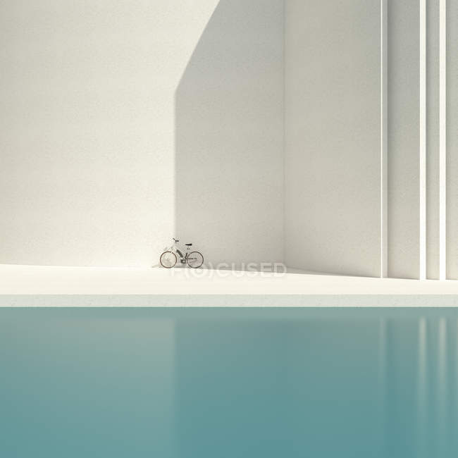 Bicicleta em frente a parede de concreto — Fotografia de Stock