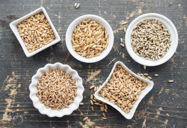 Different grains in bowls — Stock Photo
