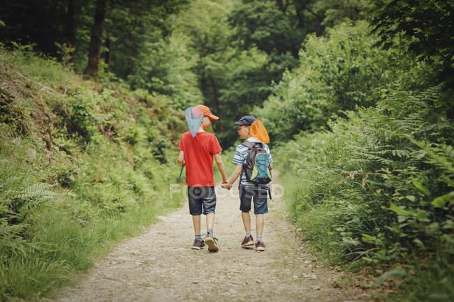 Boys walking hand in hand — Stock Photo