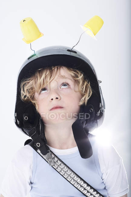 Boy dressed up as spaceman — Stock Photo