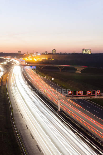 Autobahn A8 near Stuttgart at twilight — Stock Photo