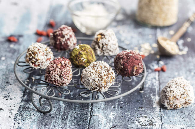 Bliss Balls on cooling grid — Stock Photo