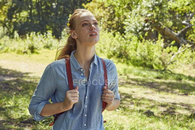 Жінка в природі, спостерігаючи те — стокове фото