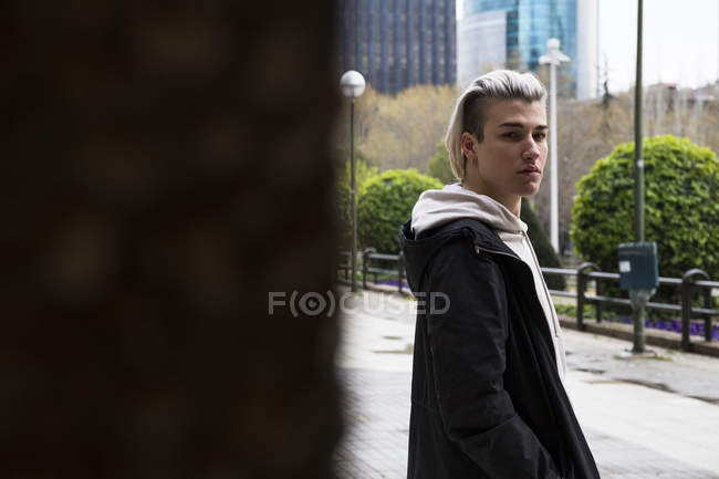 Man standing on street — Stock Photo
