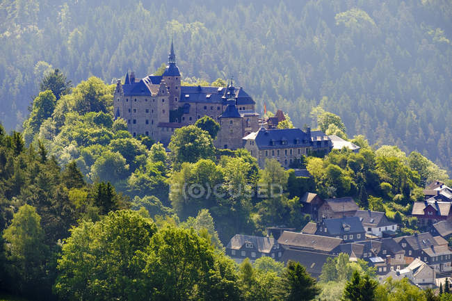 Ancient castle on green hill — Stock Photo