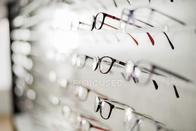 Glasses frames on rack — Stock Photo