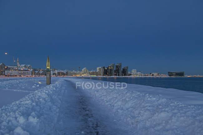 Rive de Reykjavik en hiver , — Photo de stock