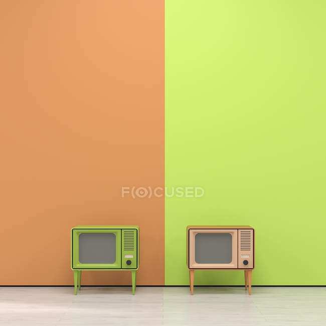 Television in front of wall — Stock Photo
