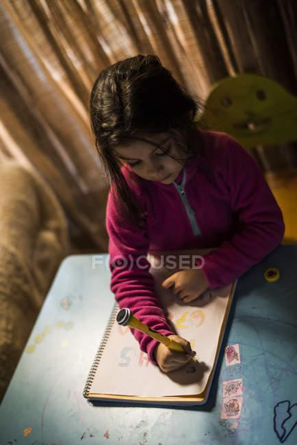 Petite fille de dessin et de faire leurs devoirs dans le salon — Photo de stock
