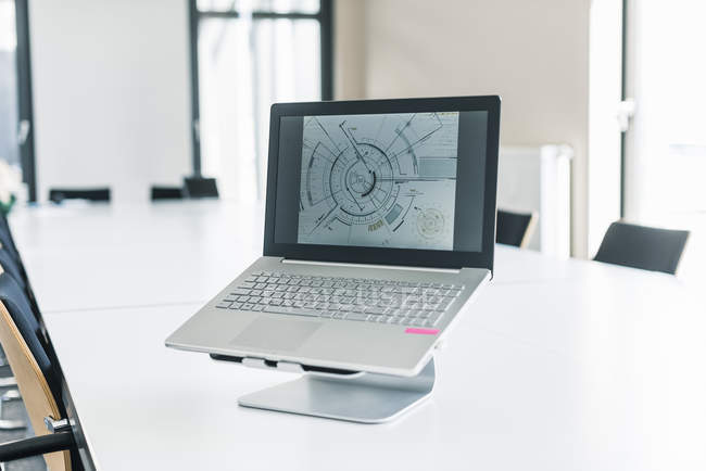 Vista diurna del diagrama en la pantalla del ordenador portátil - foto de stock
